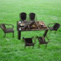PE Rattan 7 Pieces Dining Set: 1 * Dining Table, 6 * Chair (LLS-6059+1059)