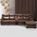 Dark Brown Multi-functional Recliner Sectional Sofa in Top Grain Leather with Cup Holder Console and Right-facing Chaise (LH-6045-1)