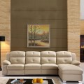 Beige Recliner Sectional Sofa in Leather with Storage and Right-facing Chaise (LH-7016-1)