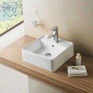 White Square Ceramic Above Counter Basin Vessel Vanity Sink (CL-1098)