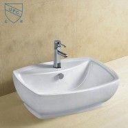 Decoraport White Rectangle Ceramic Above Counter Basin Vessel Vanity Sink (CL-1090)
