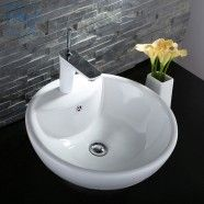 Decoraport White Round Ceramic Above Counter Basin Vessel Vanity Sink (CL-1042)