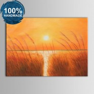 100% Hand Painted Abstract Sunset Seascape Oil Painting (DK-JX-YH056)