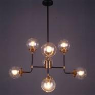 8-Light Iron Built Matte Black Vintage Glass Ball Pendant Light (DK-5046-D8)