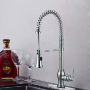 Modern Style Chrome Finished Brass Spring Kitchen Faucet - Pull Out Spray Head (82H05-CHR)