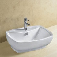Decoraport White Rectangle Ceramic Above Counter Basin Vessel Vanity Sink (CL-1090)