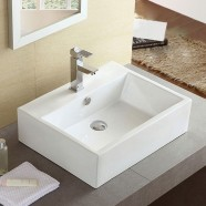 Decoraport White Rectangle Ceramic Above Counter Basin Bathroom Sink (CL-1114)