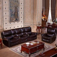 Dark Brown Manual Reclining Loveseat in Faux Leather with Cup Holder Console (LH-927-3)