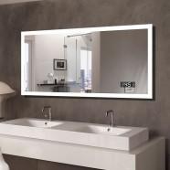 55 x 28 In Horizontal Clock LED Bathroom Mirror with Anti-fog and Bluetooth Function (DK-OD-N031-BC)