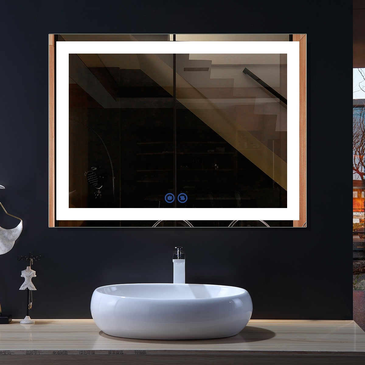 DECORAPORT 48 x 36 Inch LED Bathroom Mirror with Touch Button, Anti Fog, Dimmable, Bluetooth Speakers, Vertical & Horizontal Mount (CT071-4836)
