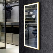 DECORAPORT 48 x 20 Inch LED Full-Length Mirror/Dressing Mirror with Touch Button, Light Luxury Gold, Dimmable, Plug-in, Floor Standing  & Wall Mounted (DJ2-4820-G)
