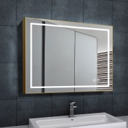 DECORAPORT 36 x 28 Inch LED Bathroom Mirror with Touch Button, Light Luxury Gold, Anti Fog, Dimmable, Vertical & Horizontal Mount (D713-3628)