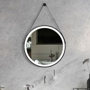 DECORAPORT 24 x 24 Inch LED Bathroom Mirror with Touch Button, Black, Anti Fog, Dimmable, Vertical Mount (D1601-2424)