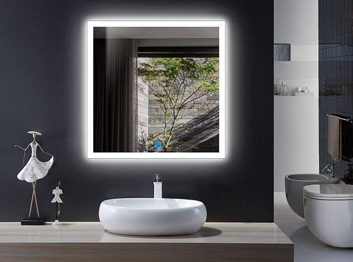 36 X 36 In And Vertical LED Bathroom Mirror, Touch Button