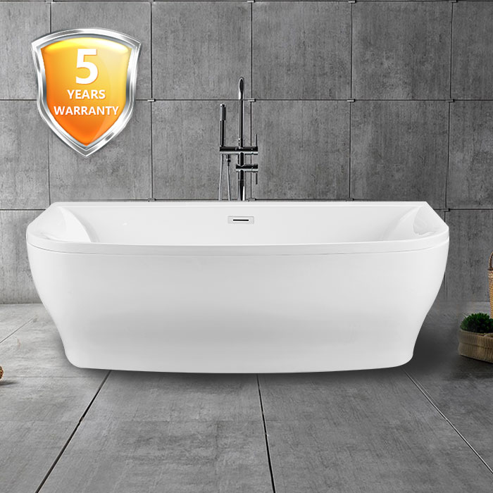 65 In Back to Wall Freestanding Bathtub with Drain - Acrylic White ...