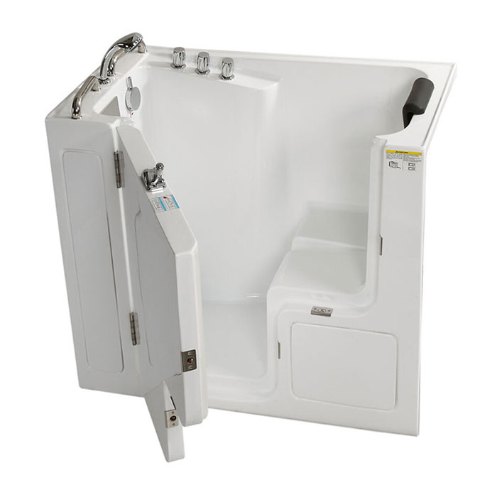52 x 30 in walk in soaking bathtub acrylic white with for Walk in tub water capacity
