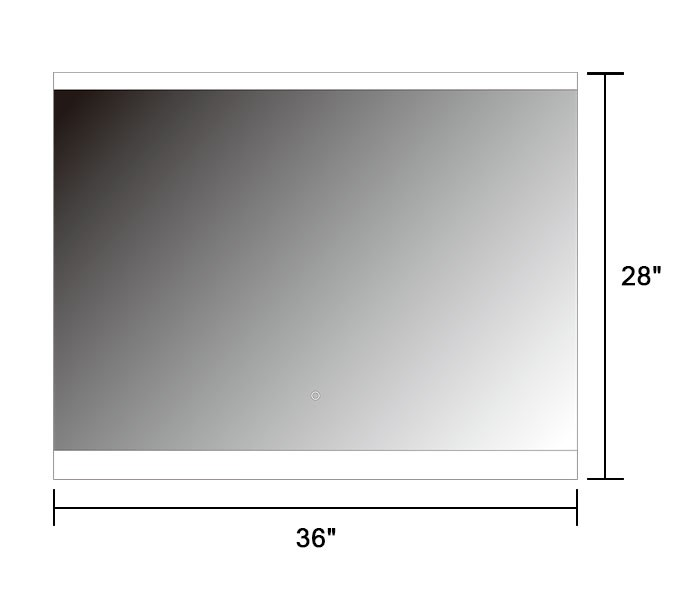 36 X 28 In Horizontal Led Mirror Touch Button Dk Od