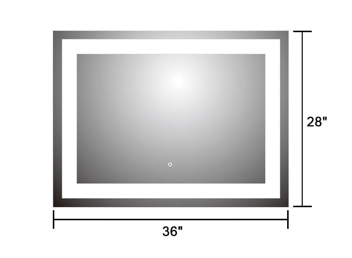 36 X 28 In Horizontal LED Mirror, Touch Button (DK-OD