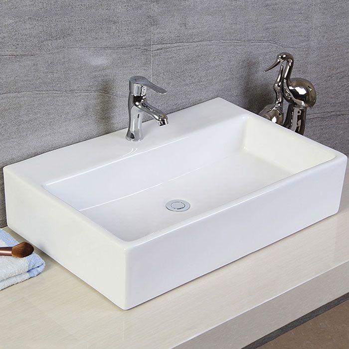 Bathroom Sink Scarabeo 5111 Rectangular White Ceramic Wall Mounted Or Vessel