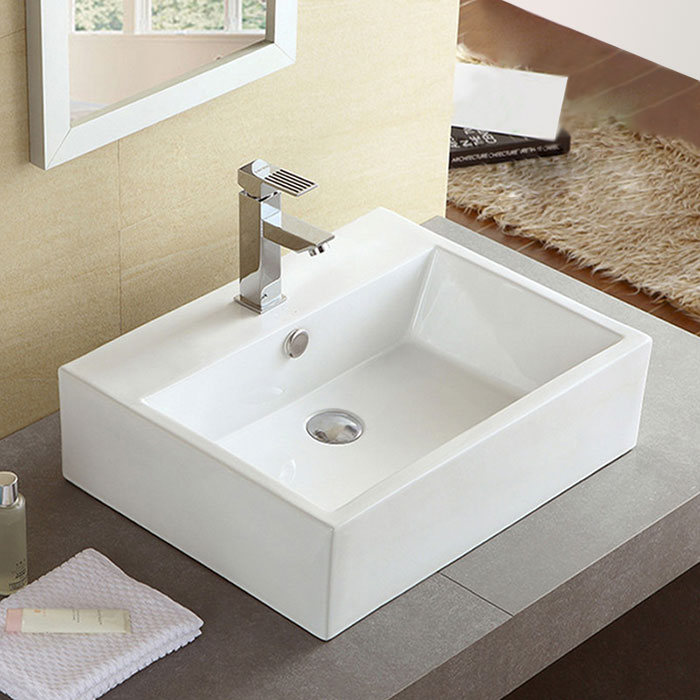 Kitchen Cabinet Height Above Sink: Decoraport White Rectangle Ceramic Above Counter Basin Bathroom Sink (CL-1114)